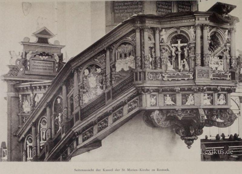 rostock die st marien kirche die kanzel aus dem jahr 1574 lexikus. Black Bedroom Furniture Sets. Home Design Ideas