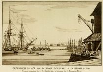 London, Greenwich Palace from the Royal Dockyard at Deptfod in 1795