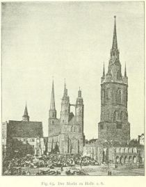 Fig. 63. Der Markt zu Halle a. S. (Nach einer Photographie von Sophus Williams in Berlin.)