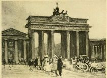 Berlin — The Brandenburg Gate — the Emperor passes. Painted by Karl O Lynch von Town.