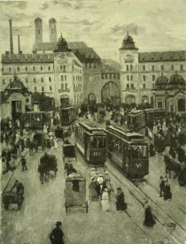 Munich — Karls Place,looking toward Karls Gate, and the Church of Our Lady. Painted by Charles Vetter.