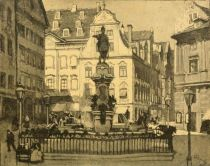 Augsburg — The Ludwigs-Platz and the Fountain of Augustus. Painted by Karl O Lynch von Town.